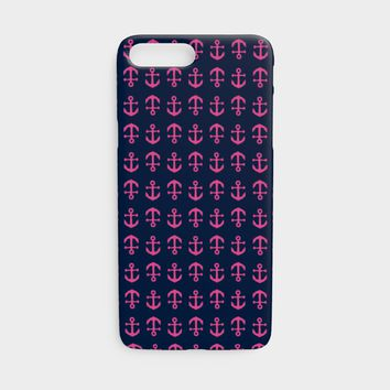 Anchor Toss Cell Phone Case iPhone 7 / 8 - Pink on Navy
