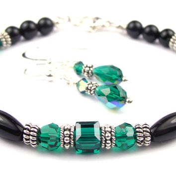 Black Onyx Bracelet and Earrings SET w/ Simulated  Green Emerald in Swarovski Crystal Birthstone Colors
