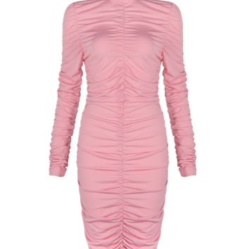 Sacy Pink Ruched Dress