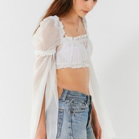 I.AM.GIA Lewis Sheer Ruffle Cropped Top | Urban Outfitters