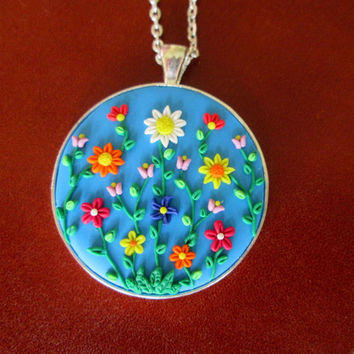 blue flower necklace,polymer clay jewelry,gifts for grandma,multicolor necklace,boho necklace,blue cameo necklace,vintage,spring necklace