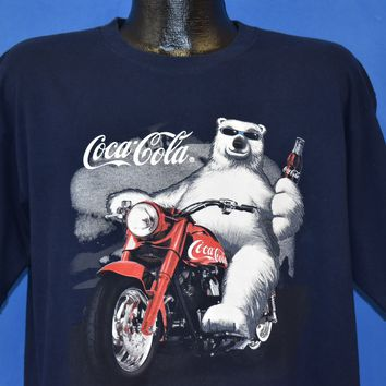 90s Coca Cola Polar Bear Motorcycle t-shirt Extra Large