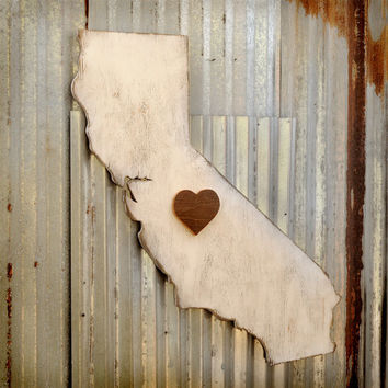 Wooden California State I Heart My State Wooden State Map Sign