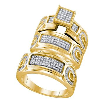 Yellow-tone Sterling Silver His & Hers Round Diamond Cluster Matching Bridal Wedding Ring Band Set 1/2 Cttw