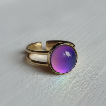 Gold Plated Mood Ring 10 mm adjustable - High Quality