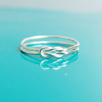Sterling Silver Lovers Knot Ring, Hug Infinity Ring, Tie the Knot Ring, Bridesmaid Gift, Sailor Knot Ring, Celtic Knot Ring, Reef knot Ring