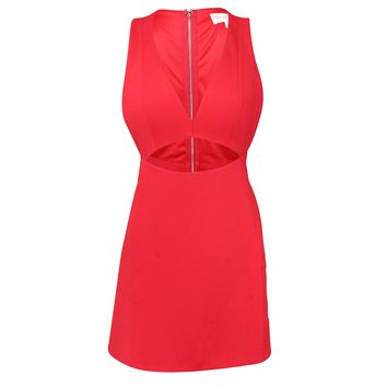 Cutout Red Fit & Flare Dress