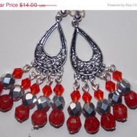 ON SALE Red and Silver Chandelier Earrings