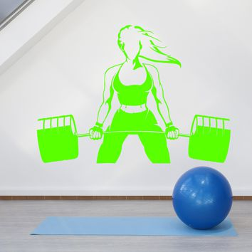Vinyl Wall Decal Beautiful Sexy Body Girl Gym Fitness Sport Barbell Stickers (2590ig)