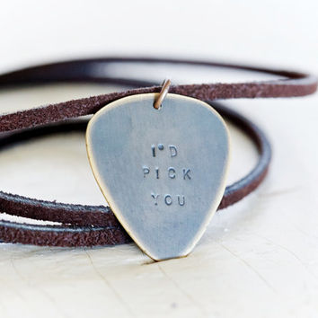 Gift for Him - Pick Necklace - Gift for Musician - All hand forged - Unisex - Inspirational Jewelry - Gift for Him - Musician Gift