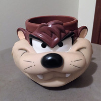 Vintage Large Taz Devil Plastic Mug from 1992 - 1993 / Tassie Devil Plastic Looney Tunes Mug / Warner Bros