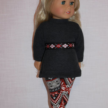 18 inch doll clothes,  grey ribbed sweater, fair isle leggings and belt , Upbeat Petites