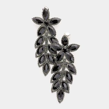 Floral Crystal Marquise Cluster Vine Clip On Earrings