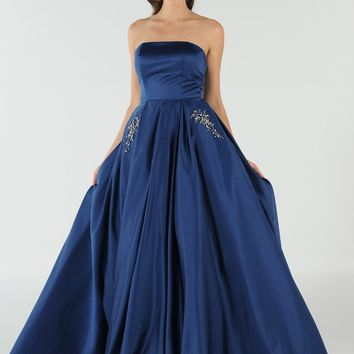 Navy Blue Strapless A-line Prom Gown with Embellished Pockets