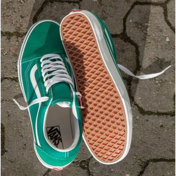 """Vans"" With Warm Casual Shoes Men and women classic black cloth shoes Green"