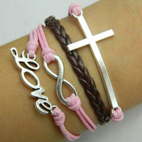 Lovers Bracelet -- Unisex fashion silver 8 infinity wish, LOVE and cross bracelet, brown leather and pink wax rope braided leather bracelet