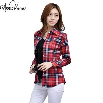 2016 New Fashion 22 Colors Girl's Plaid Flannel Shirt Female Long-Sleeved Shirts Ladies Vintage Turn Down Collar Women's Tops