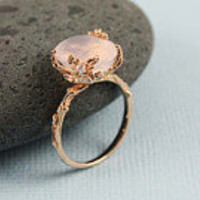 pink gold oval rose quartz ring on Etsy, a global handmade and vintage marketplace.