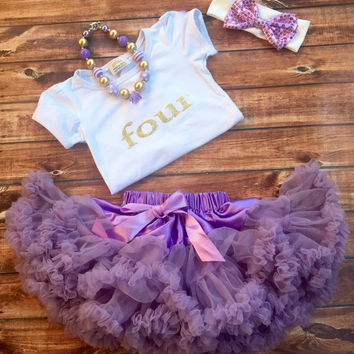 Purple four year old birthday outfit, girl 4th birthday, purple pettiskirt, gold shirt, birthday shirt, 4 year old, white shirt, girls
