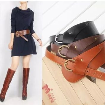 Fashion PU Leather Vintage Waist Belts for Women oblique buckle wide strap cross body Women cummerbund belt Obi female wide