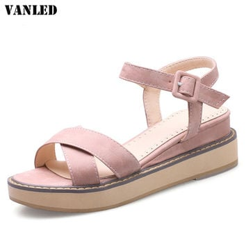 VANLED Buckle Flat Gladiator Sandals Women Flat Platform Sandals Casual Fashion Ladies Sandals Brand Large Size Sandal Women