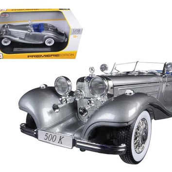1936 Mercedes 500K Special Roadster Grey 1-18 Diecast Model Car by Maisto