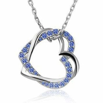 0.50ct TDW Black or Blue & White Diamond Open Heart Necklace