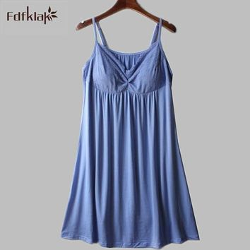 New soft comfortable women nightgowns summer sleeveless short nightdress model ladies sleepwear dress with chest pad A787