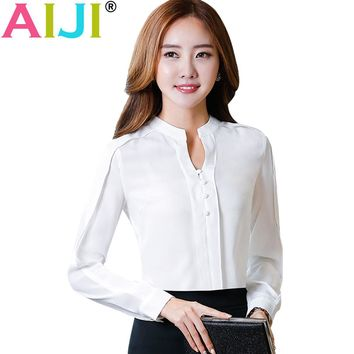 2017 OL fashion V-neck Solid blouses women elegant slim formal long sleeve chiffon shirt office ladies plus size work wear tops