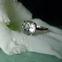 Herkimer Diamond Ring White Gold