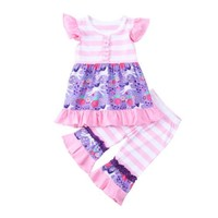 Children's Unicorn Ruffled Top and Pants 2-piece Set