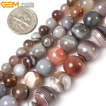 Gem-inside 6-12mm Natural Stone beads Round Botswana Sardonyx Agates Beads For Jewelry Making Beads 15inch DIY Beads Jewellery