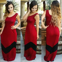 THE DECADENCE CHEVRON MAXI DRESS IN WINE/BLACK