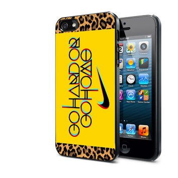 Nike Logo Go Hard Or Go Home Leopard Design by MadeCustom for iPhone 4/4s and iPhone 5 Case