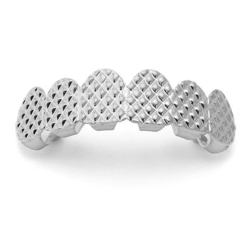Silver Quilted Pattern Flat Top Grillz