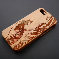 Buy 1 Get 1 Free - Sea Wave Cherry Wood Case for iPhone 5C , 5 , 4 , iPhone5 Case Wood , Real Wood iPhone 5s Case , iPhone 5 Case Wood (M11)