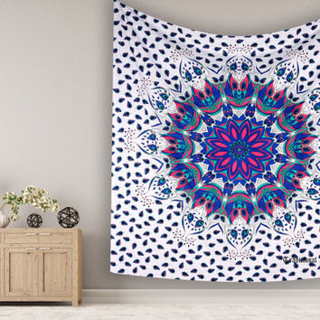Bohemian Ombere Peacock Mandala Table Cloth Tapestry Wallhanging For Dorm Wall Decor