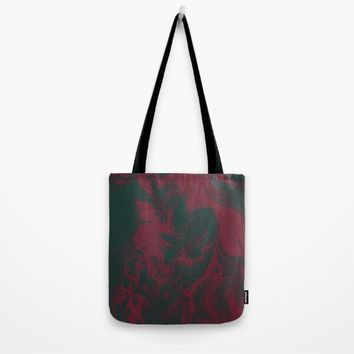 Cranberry and Evergreen Tote Bag by DuckyB