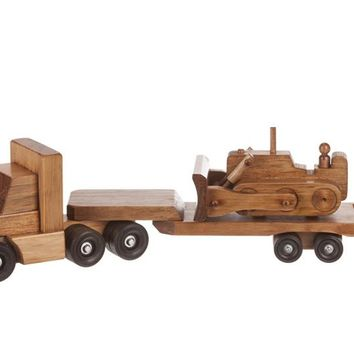 Wooden Truck Trailer Cargo Truck Low Boy w/ Bulldozer Tradional Toys for Kids