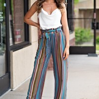 Summer Radiance Striped Palazzo Pants : Multi
