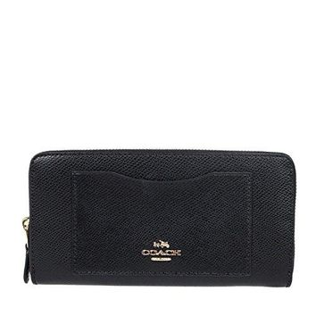 Coach Crossgrain Leather Accordion Zip Wallet - Black