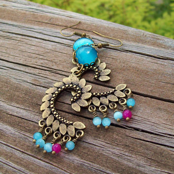 Turquoise Blue Cat's Eye Chandelier Earrings - Feathered Curve - Beaded Gypsy Earrings