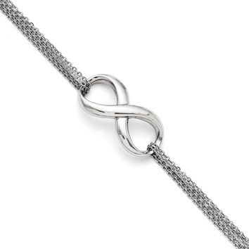 Infinity Symbol Double Strand Bracelet in Stainless Steel, 7.5 Inch