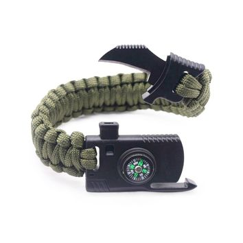 Paracord Survival Bracelet Kit - Military Parachute Rope Survival for Camping Hiking Fishing Travelling - Compass-Military