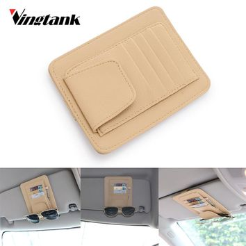 Vingtank Universal Car Auto Visor Organizer Holder PU Leather Case for Cards Glasses Bills Eaey to Install Car Storage