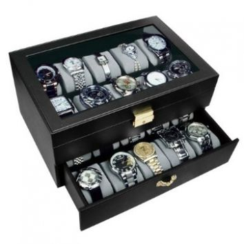 Ikee Design Deluxe Black Watch Display Case With Key Lock, Clear Glass Top, 20 Watch Holders.