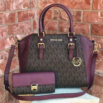 DCCKV3X NWT Authentic MK Signature Ciara Large Handbag + Wallet Set $616 Brown / Plum