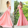 2015 Applique Backless Mermaid Evening Party Dress Prom Formal Celebrity Gown