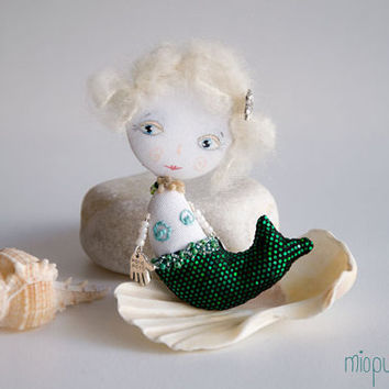 Art Doll Brooch Little Mermaid mixed media collage by miopupazzo