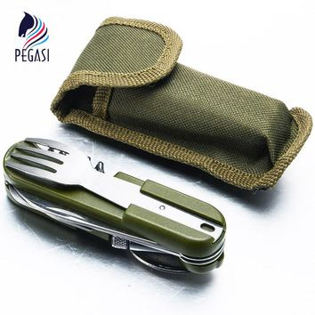 PEGASI Multi Function Outdoor Tableware Stainless Folding Camping Tool Dinnerware Fork Spoon Knife Bottle Opener Set